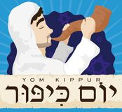 Jewish Man Blowing a Shofar behind Scroll for Yom Kippur, Vector Illustration. Poster with a Jewish man blowing traditional Shofar horn behind an ancient scroll Royalty Free Stock Photography