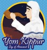 Man Blowing a Shofar in a Dawn of Yom Kippur, Vector Illustration. Poster with Jewish man wearing a white tallit and blowing a Shofar horn in a dawn of Yom Stock Photo