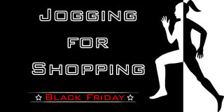 Poster , jogging for shopping , Black Friday Royalty Free Stock Photography