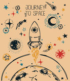 Poster for journey to space Stock Images
