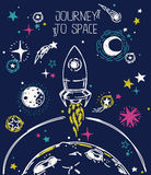 Poster for journey to space Stock Photos
