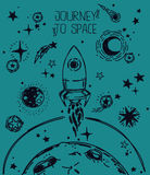 Poster for journey to space Royalty Free Stock Photography