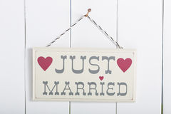 Poster Just Married Royalty Free Stock Photography