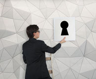 Poster with keyhole Stock Photos