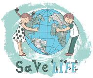 Poster with kids hugging Earth globe. Ecological doodle poster with kids hugging globe and save life text. Hand drawn line art bio illustration, green world Stock Photography