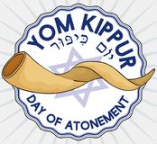 Label with a Shofar Horn Inside for Jewish Yom Kippur, Vector Illustration Stock Image