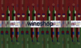Poster label signboard of wineshop. illustration wine and glasses and bottles Stock Image