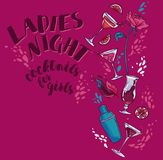 Poster for lady`s night party with glamour cocktails, splashes and place for text. Vector illustration Stock Photography