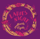 Poster for lady`s night party with glamour cocktails Stock Image
