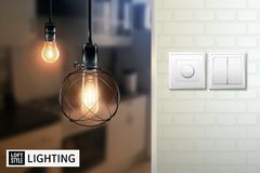 Loft Style Lamps And Switches Poster. Poster with lamps in loft style on blurred background and switches on white brick wall vector illustration Stock Image
