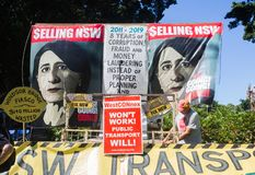 The poster of leader of the Liberal Party ,is Gladys Berejiklian, by protester for saving NSW ,Stop her project. SYDNEY, AUSTRALIA. – On March 03, 2019 stock photos