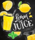 Poster lemon juice chalk Stock Photos