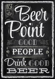Poster lettering Beer Point. Chalk. Poster lettering Beer Point good people drink good beer drawing with chalk on the blackboard Royalty Free Stock Photo
