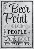 Poster lettering Beer Point. Coal. Poster lettering Beer Point good people drink good beer drawing with coal on the board Stock Photos