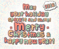 Poster with lettering greetings merry Christmas, happy new year Royalty Free Stock Image