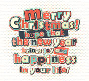 Poster with lettering greetings merry Christmas, happy new year Royalty Free Stock Photos