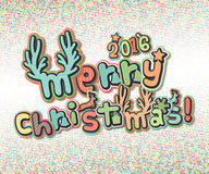 Poster with lettering greetings merry Christmas, happy new year Royalty Free Stock Images