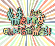 Poster with lettering greetings merry Christmas, happy new year Stock Photography
