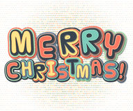 Poster with lettering greetings merry Christmas, happy new year Stock Photo