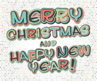 Poster with lettering greetings merry Christmas, happy new year Stock Photos