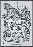 A poster with the lettering I'll get everything I want Motivational poster font, banner, postcards. Decorative text. A poster with the lettering I'll get Stock Images