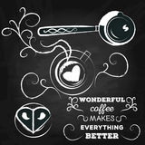 Poster lettering wonderful coffee makes everything better Stock Image