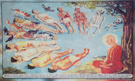 Poster of the Life Cycle. DICKWELLA, SOUTHERN PROVINCE, SRI LANKA - DECEMBER 20 2014: Poster of the Life Cycle in buddhist monastery Wewurukannala Vihara near Royalty Free Stock Photos