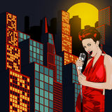 Poster with lights big night city, retro woman singer and moon. Red dress on woman. Retro microphone. Jazz, soul and blues live mu Stock Images