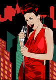 Poster with lights big night city, retro woman singer and moon. Red dress on woman. Retro microphone. Jazz, soul and blues live mu Stock Photos