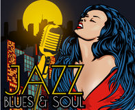 Poster with lights big night city, retro woman singer and moon. Red dress on woman. Retro microphone. Jazz, soul and blues live mu Stock Image