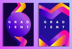 Poster with liquid wave and colorful gradients. Synthwave, futurism background. Retrowave. Vector. Illustration royalty free illustration