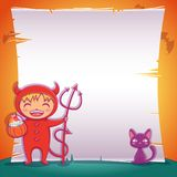 Little devil with black kitten. Happy Halloween party. Editable template with text space. Poster with little devil with black kitten for Happy Halloween party stock illustration