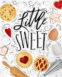 Poster little sweet. S with illustrated cookie, egg, whisk, rolling pin in retro style lettering little sweet drawing on dirty paper background Stock Images