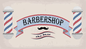 Poster logo sign signboard fascia or shingle for barber, coiffeur, haircutter, vintage retro inscription barbershop. Vector vertic. Al closeup front view Royalty Free Stock Images