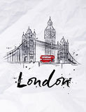 Poster London. Skyscrapers Tower Bridge and Big Ben drawing  in vintage style with drops and splashes on crumpled paper Royalty Free Stock Images