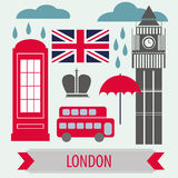 Poster With London Symbols and Landmarks Stock Photo