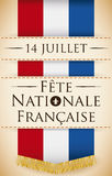 Poster with Long France Flag Commemorating French National Day, Vector Illustration Royalty Free Stock Photos