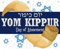 Ribbon across Shofar Horn and Stars for Yom Kippur, Vector Illustration. Poster with a long shofar horn with a blue label commemorating Yom Kippur -written in Stock Photo