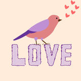 Poster love with a beautiful decorative bird vector Royalty Free Stock Image
