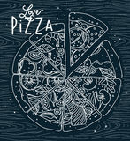 Poster love pizza blue Royalty Free Stock Image