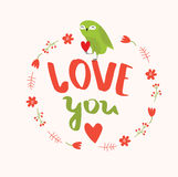 Poster `Love you` Royalty Free Stock Image