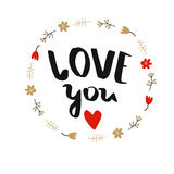 Poster `Love you` Royalty Free Stock Photography