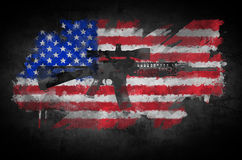 Rifle and flag. Poster M16 rifle on a background of the American flag Stock Image