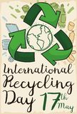 Arrows around Globe and Doodles to Commemorate Recycling Day, Vector Illustration. Poster made out of recycled paper and a recycle arrows with some elements Stock Image