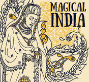 Poster for magical india with beautiful indian woman in traditional saree and paisley ornament Stock Images