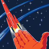 Poster man is exploring the new space. Poster space theme, people sent into space, image of a human hand and missiles. The collection space Royalty Free Stock Images