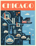 Poster with Map of Chicago landmarks Stock Photography