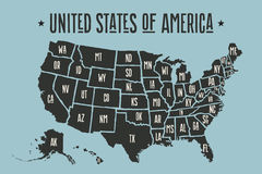 Poster map United States of America with state names Stock Images