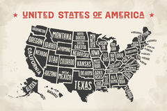 Poster map United States of America with state names Royalty Free Stock Photo