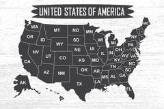 Poster map of United States of America with state names. vector illustration